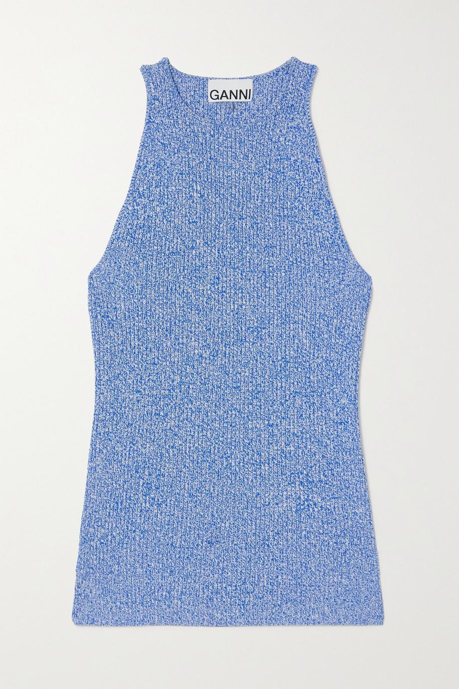 GANNI Mélange ribbed-knit tank
