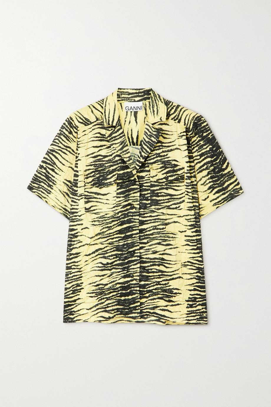 GANNI Tiger-print crinkled stretch-satin shirt