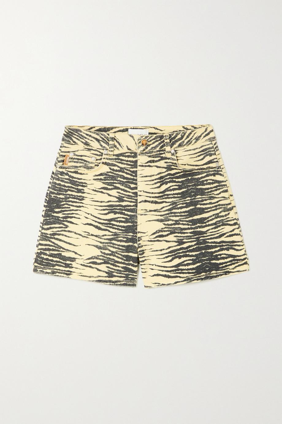 GANNI Tiger-print organic denim shorts
