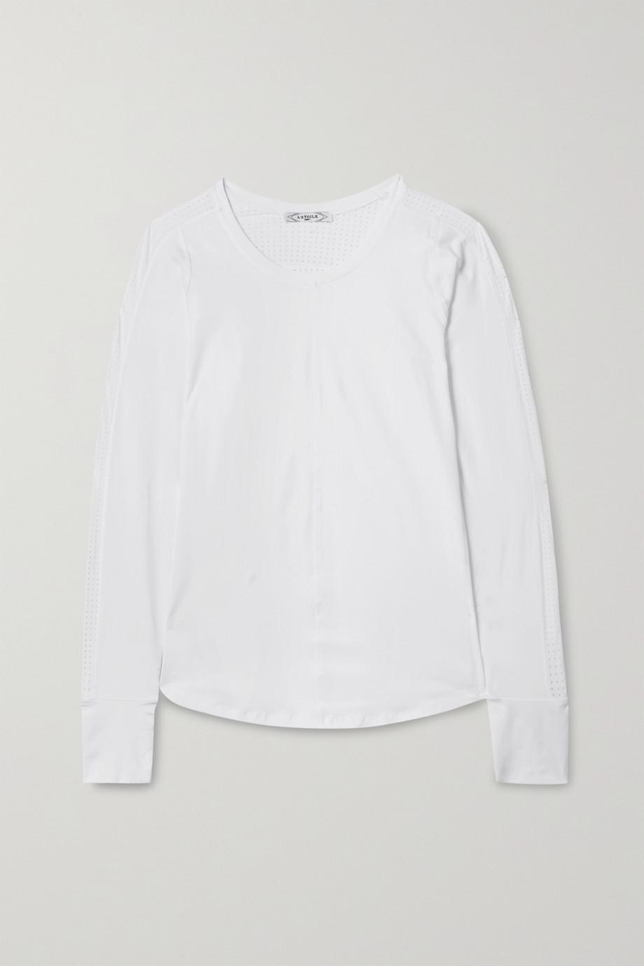 L'Etoile Sport Mesh-paneled stretch-jersey top