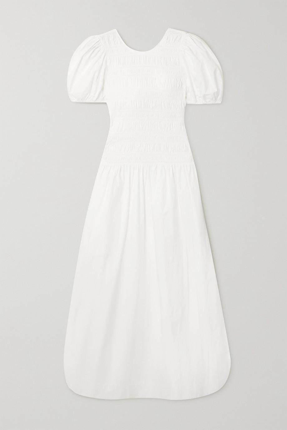 GANNI Smocked organic cotton-poplin midi dress