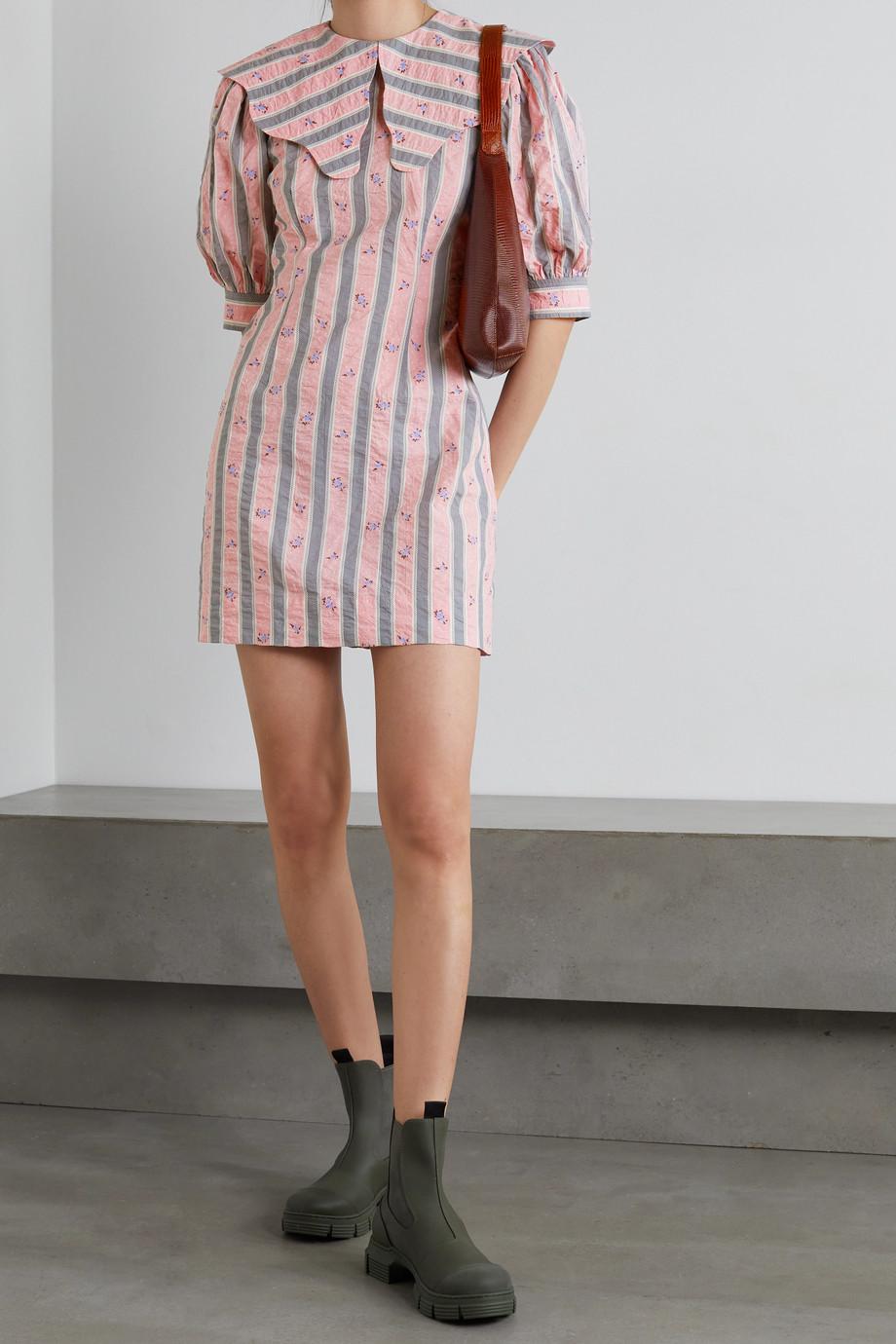 GANNI Mini-robe en crépon de coton biologique imprimé