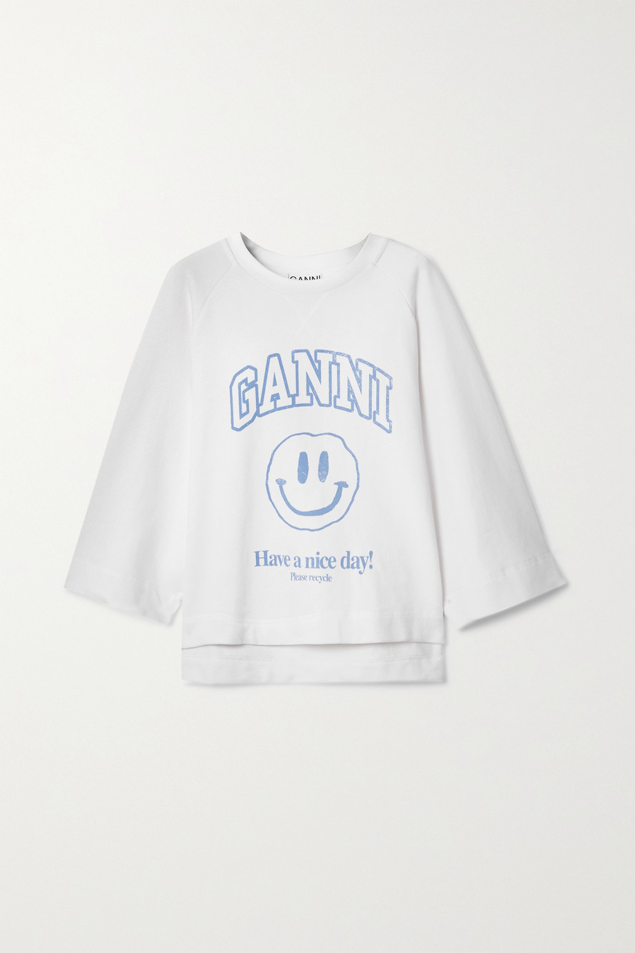 GANNI Isoli printed recycled cotton-blend jersey sweatshirt