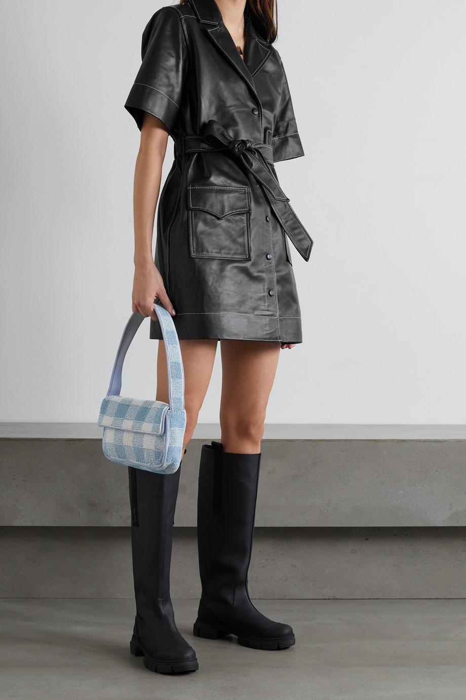 GANNI Belted leather mini dress