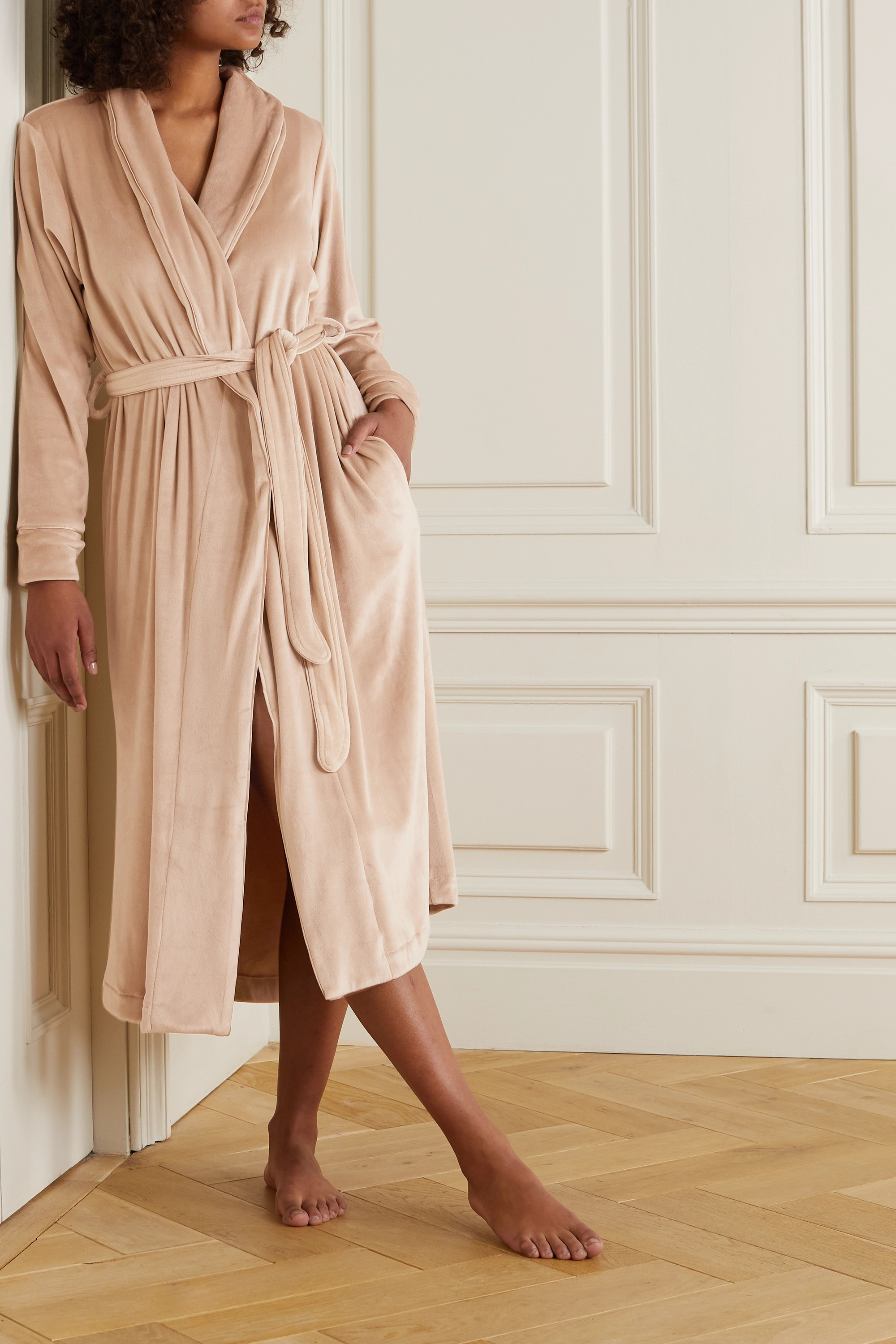 SKIMS Velour robe - Honey
