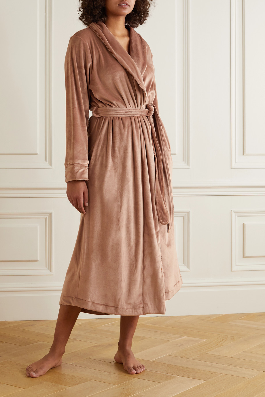 SKIMS Velour Long Robe – Sienna – Morgenmantel aus Velours