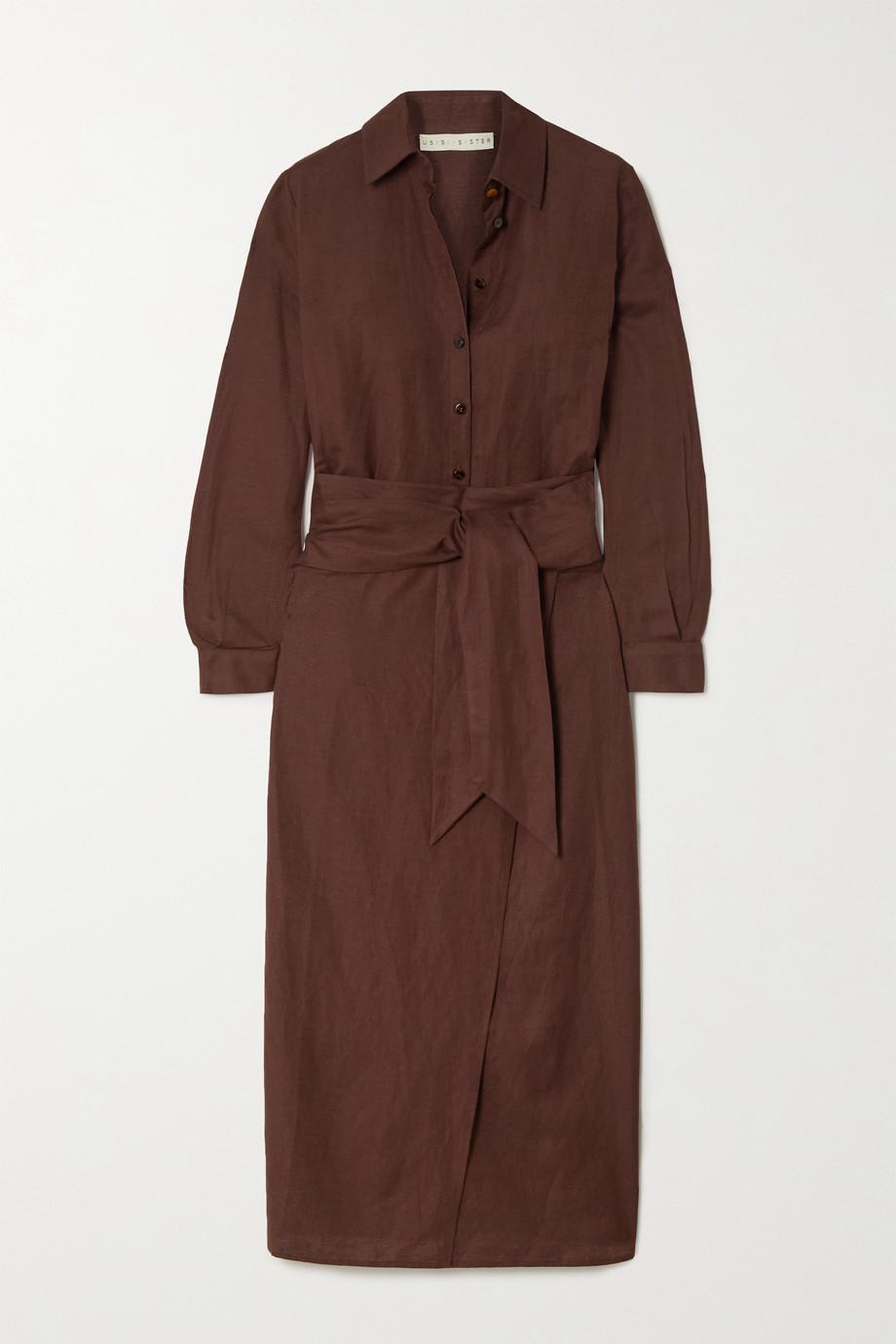 USISI SISTER Juliana wrap-effect linen-blend shirt dress