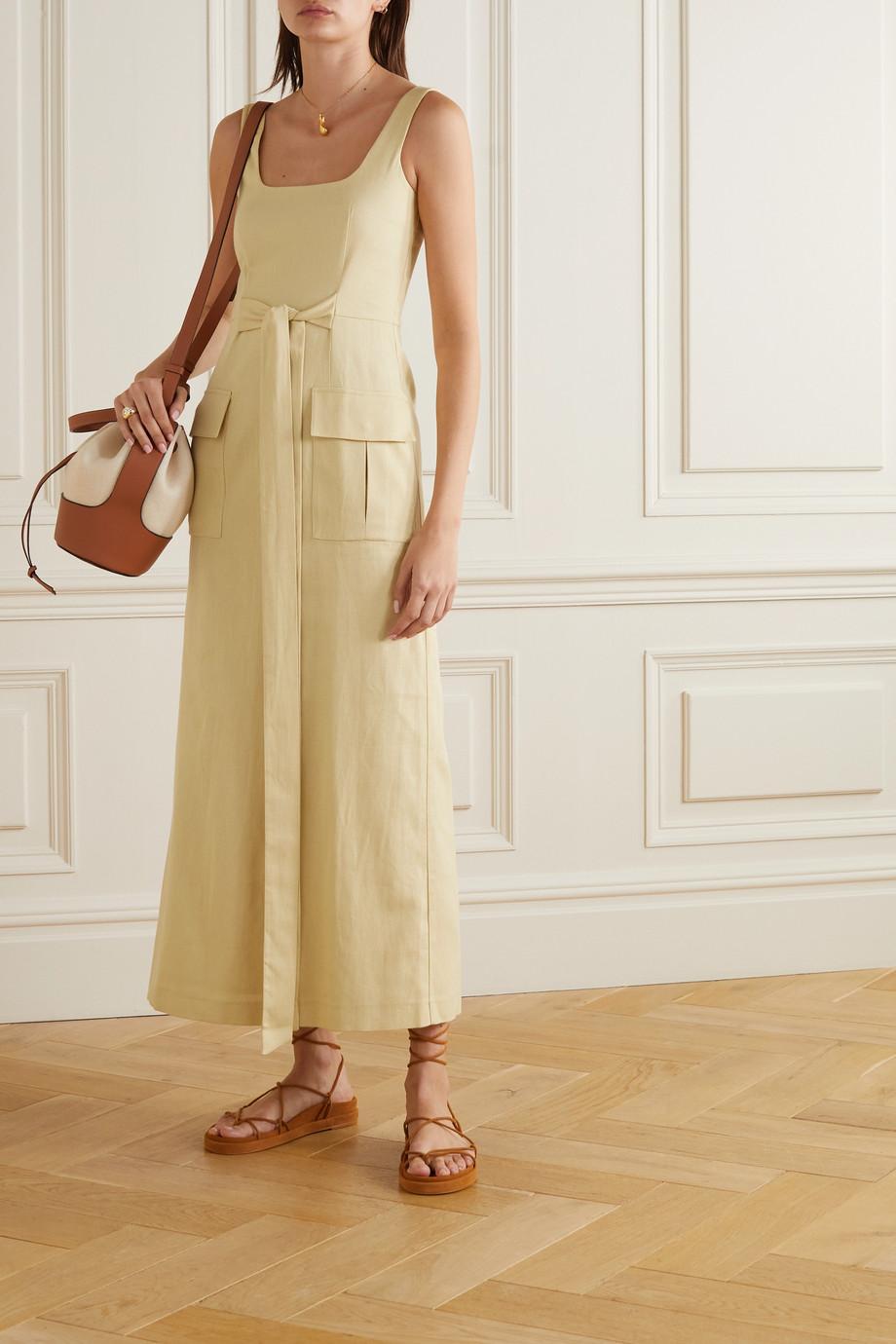 USISI SISTER Leah tie-detailed cotton-blend gauze midi dress