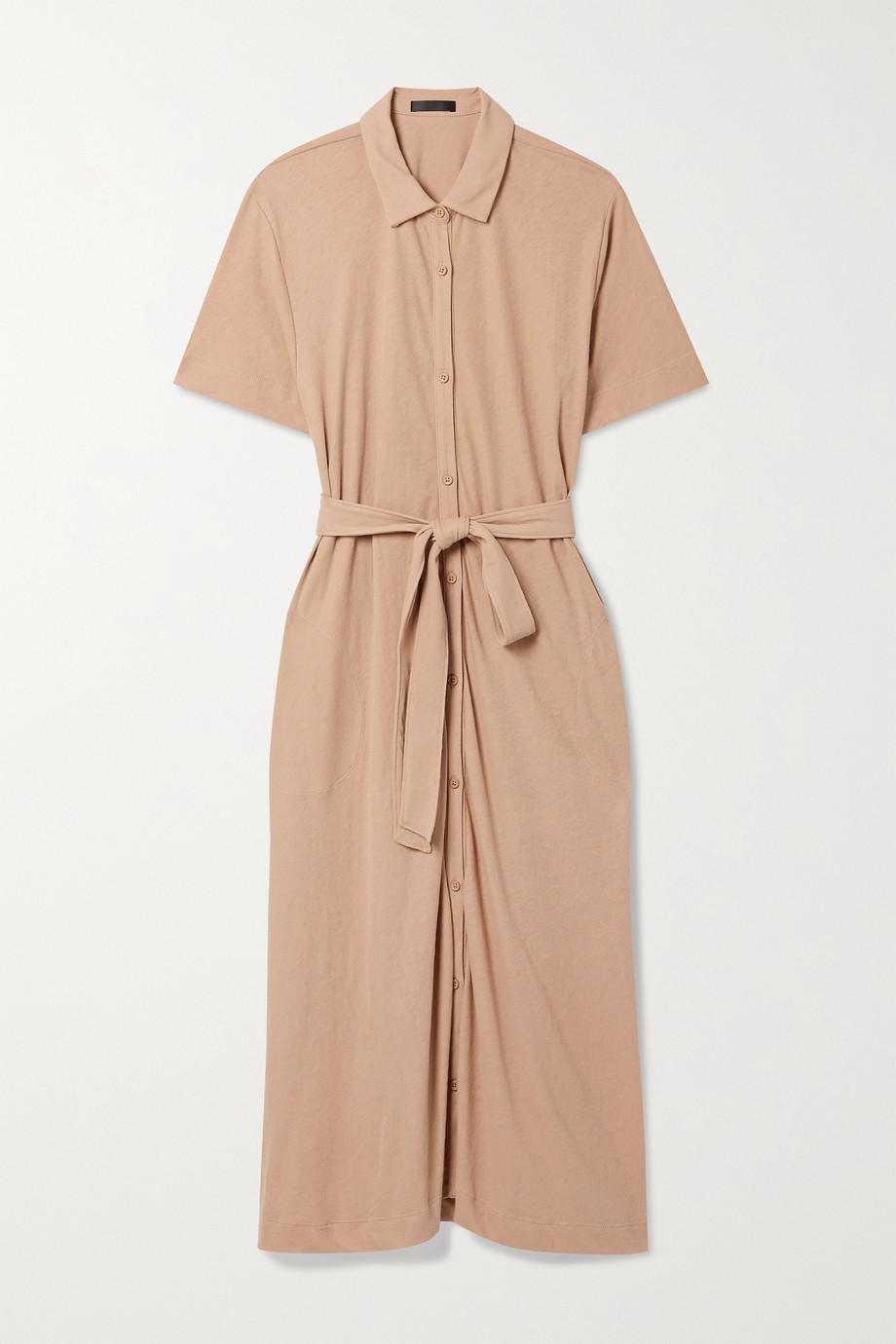 ATM Anthony Thomas Melillo High Torsion Hemdblusenkleid aus Baumwoll-Jersey mit Bindegürtel