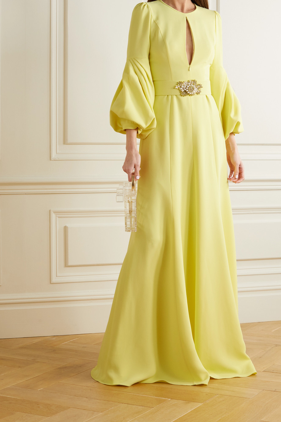 Andrew Gn Belted crystal and faux pearl-embellished crepe gown