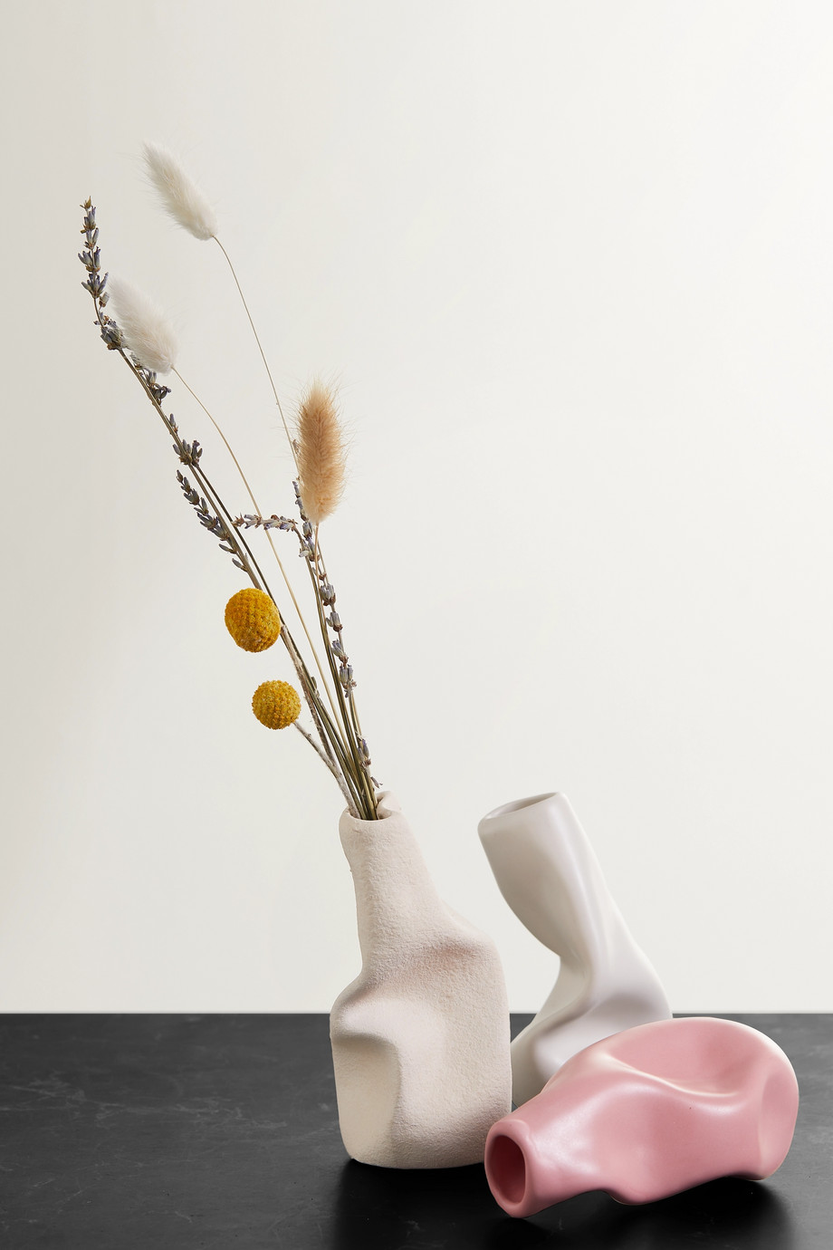 Completedworks + Ekaterina Bazhenova Yamasaki Seam, Solitude and Wake set of three ceramic vases