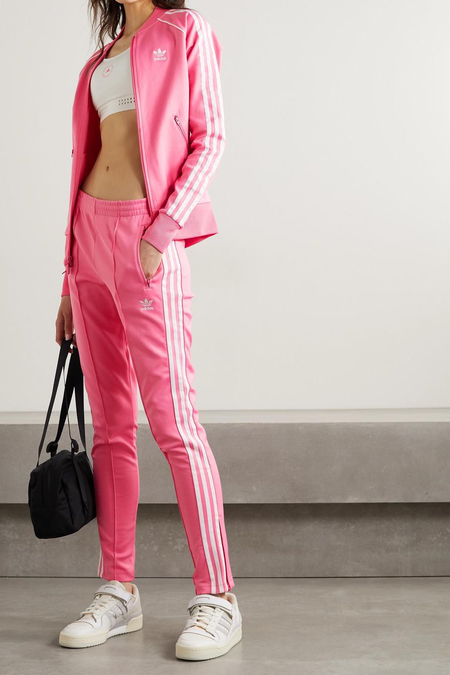 adidas Originals Adicolor Superstar Trainingsjacke aus glänzendem Jersey aus einer Baumwollmischung mit Streifen