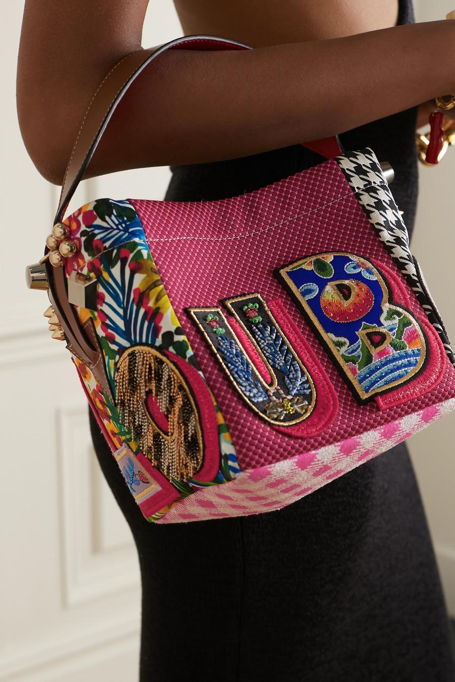 Christian Louboutin Sac à main patchwork en toile à finitions en cuir et à appliqués Caracaba Mini