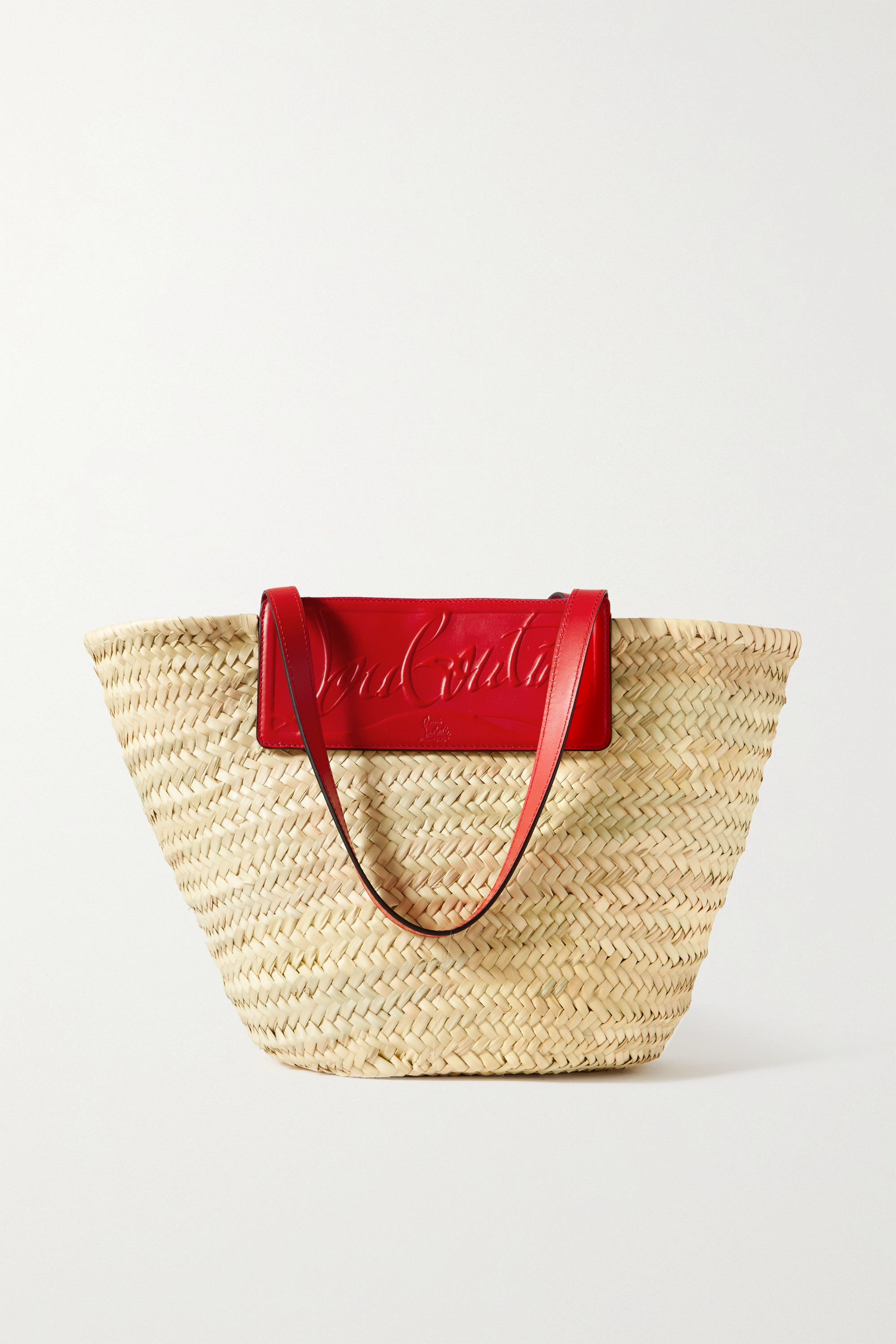 Christian Louboutin Loubishore woven straw and embossed leather tote