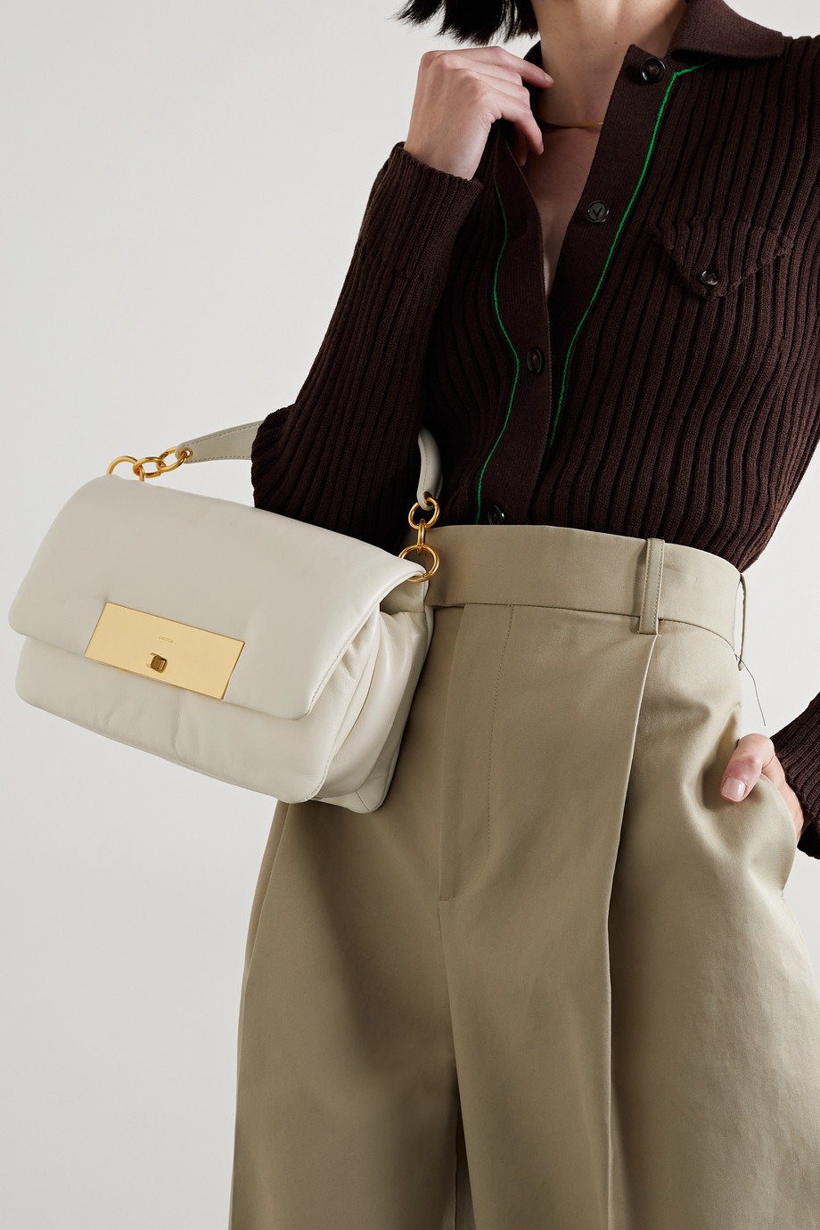 Oroton Heath padded leather shoulder bag