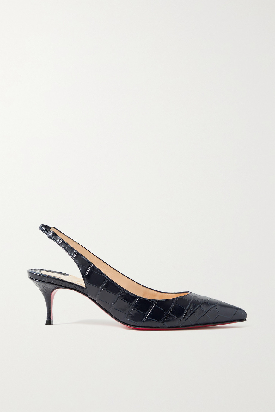 Christian Louboutin Kate 55 croc-effect leather slingback pumps