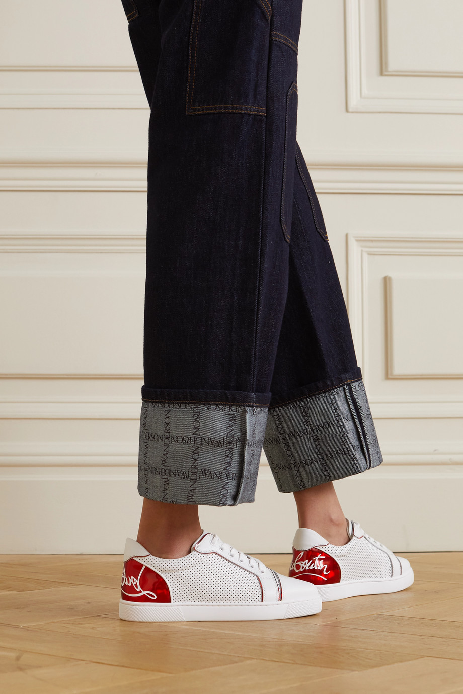 Christian Louboutin Fun Vieira printed PVC-trimmed perforated leather sneakers