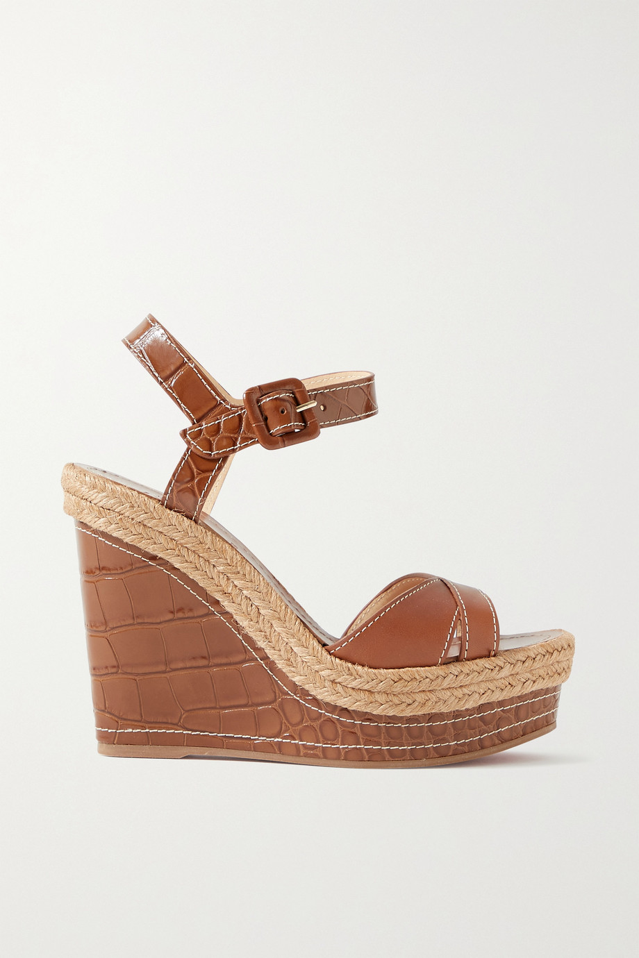Christian Louboutin Almerio 120 smooth and croc-effect leather wedge sandals