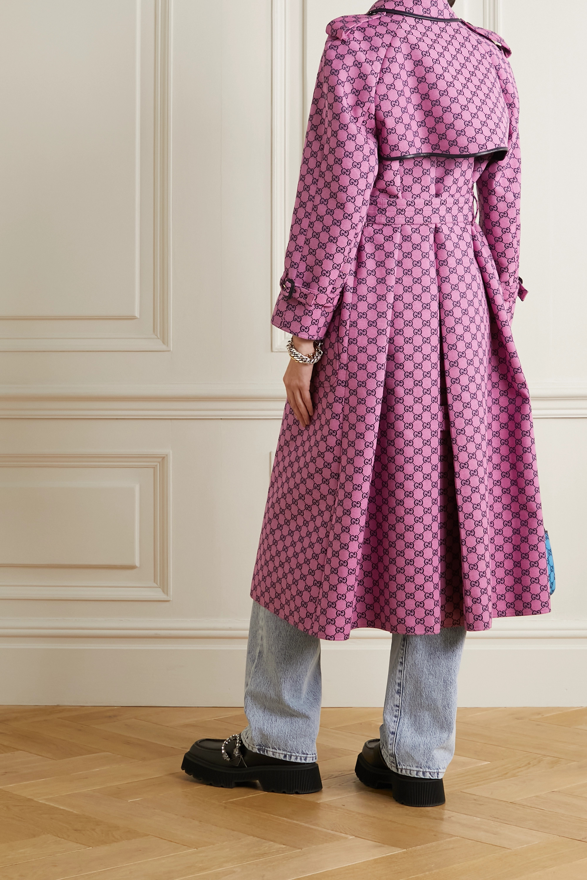 Gucci GG Multicolour belted leather-trimmed cotton-blend jacquard trench coat