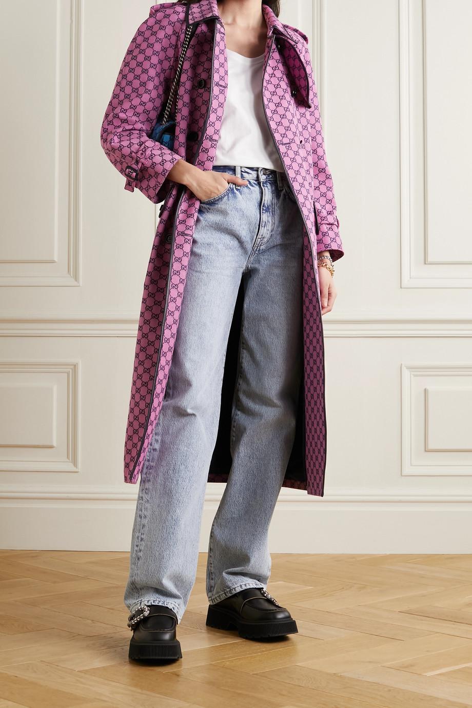 Gucci Trench-coat en jacquard de coton mélangé à finitions en cuir et à ceinture GG Multicolour