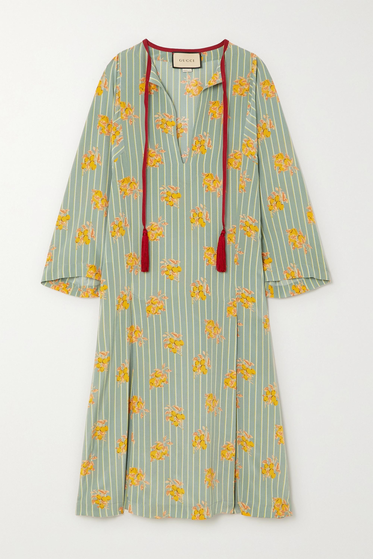 Gucci Tasseled printed silk crepe de chine kaftan