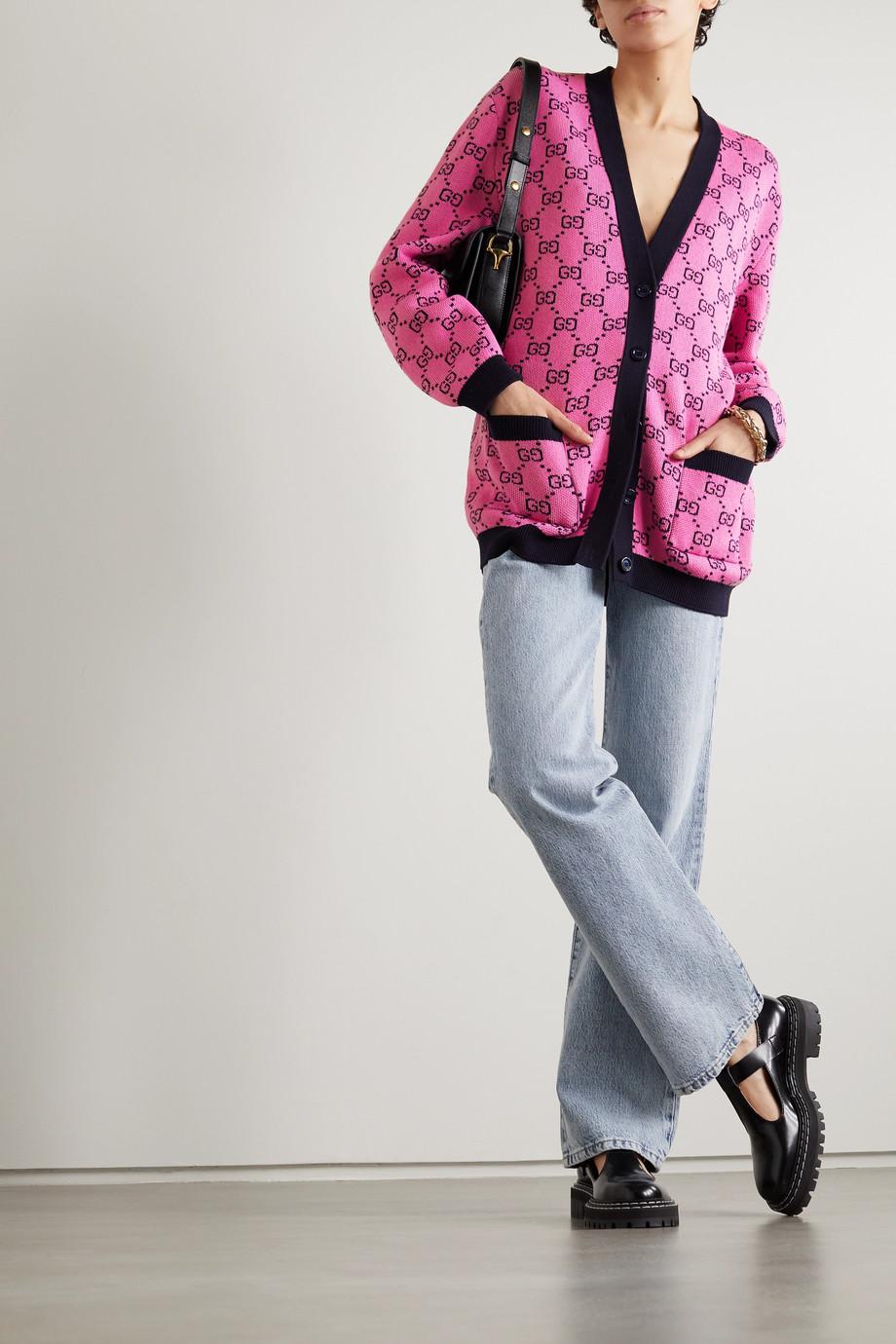 Gucci Cardigan en laine et coton mélangés intarsia