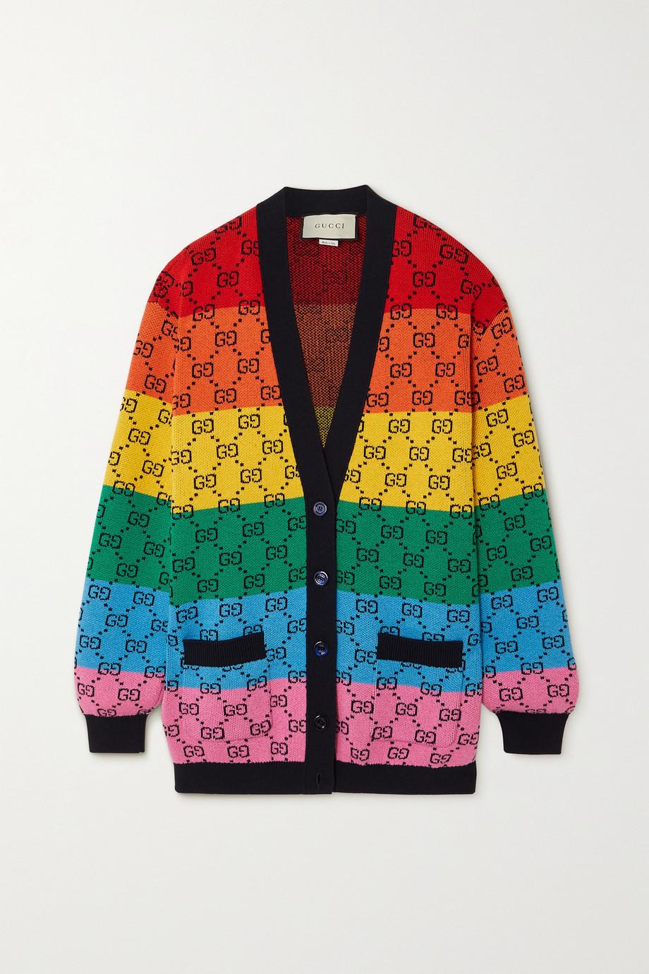 Gucci Cardigan en laine mélangée intarsia à rayures GG Multicolour