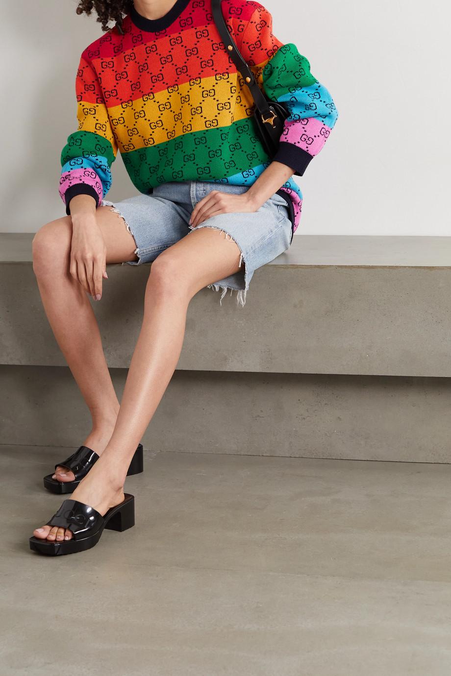 Gucci Pull en laine et coton mélangés intarsia GG Multicolour