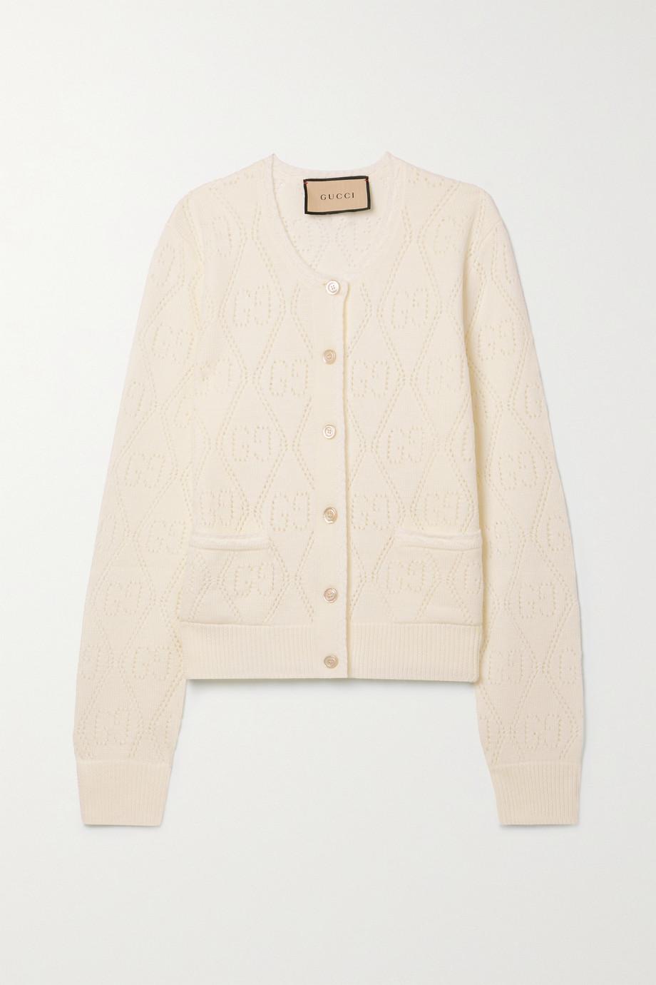 Gucci Cardigan raccourci en laine à mailles pointelle