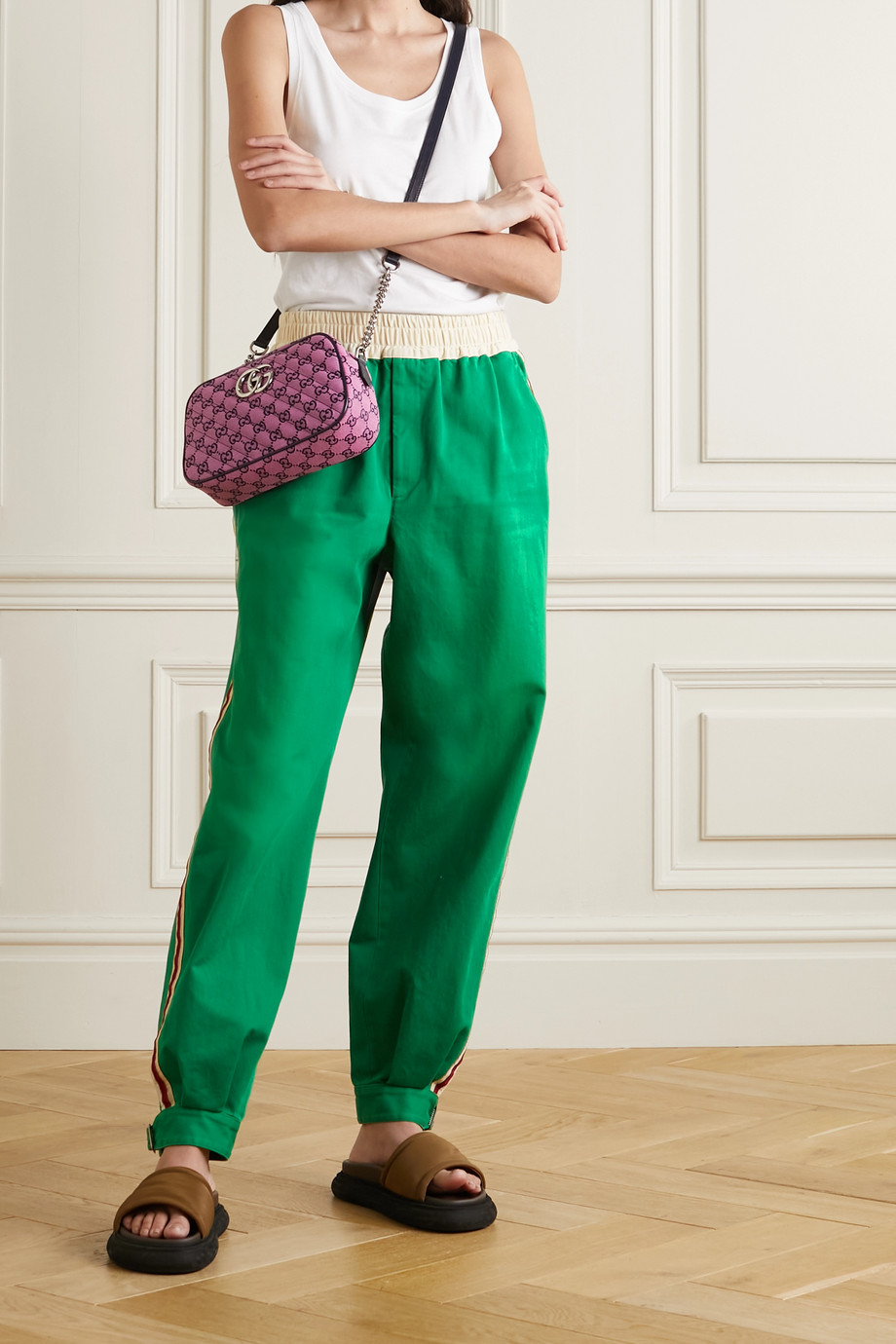 Gucci Pantalon de survêtement en coutil de coton à rayures et à appliqués