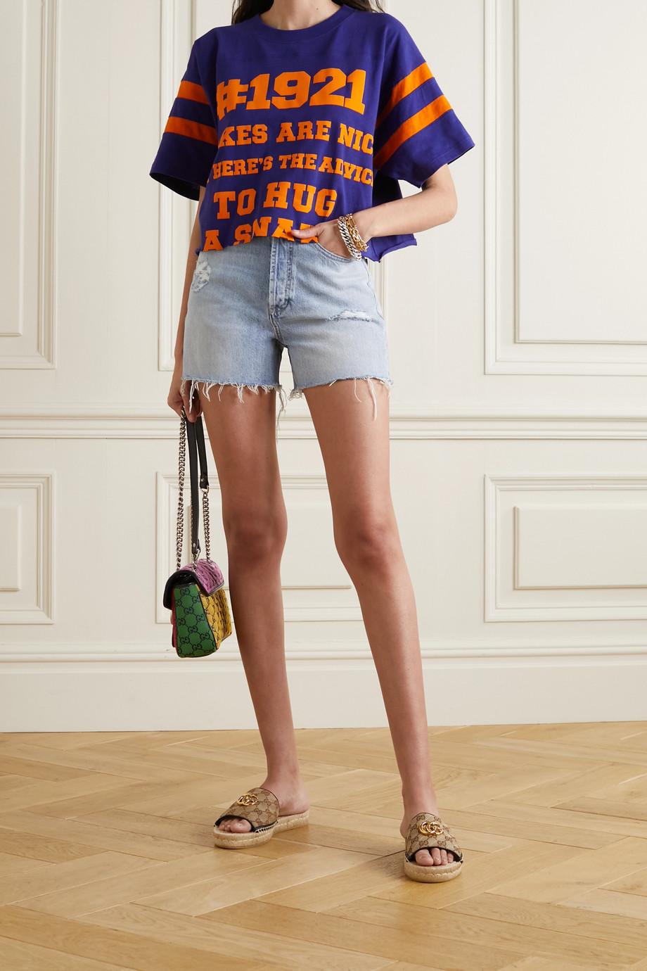 Gucci Short en jean effet vieilli à broderies