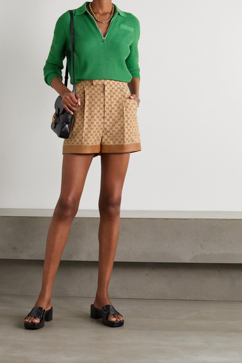 Gucci Short en jacquard de lin mélangé à finitions en cuir
