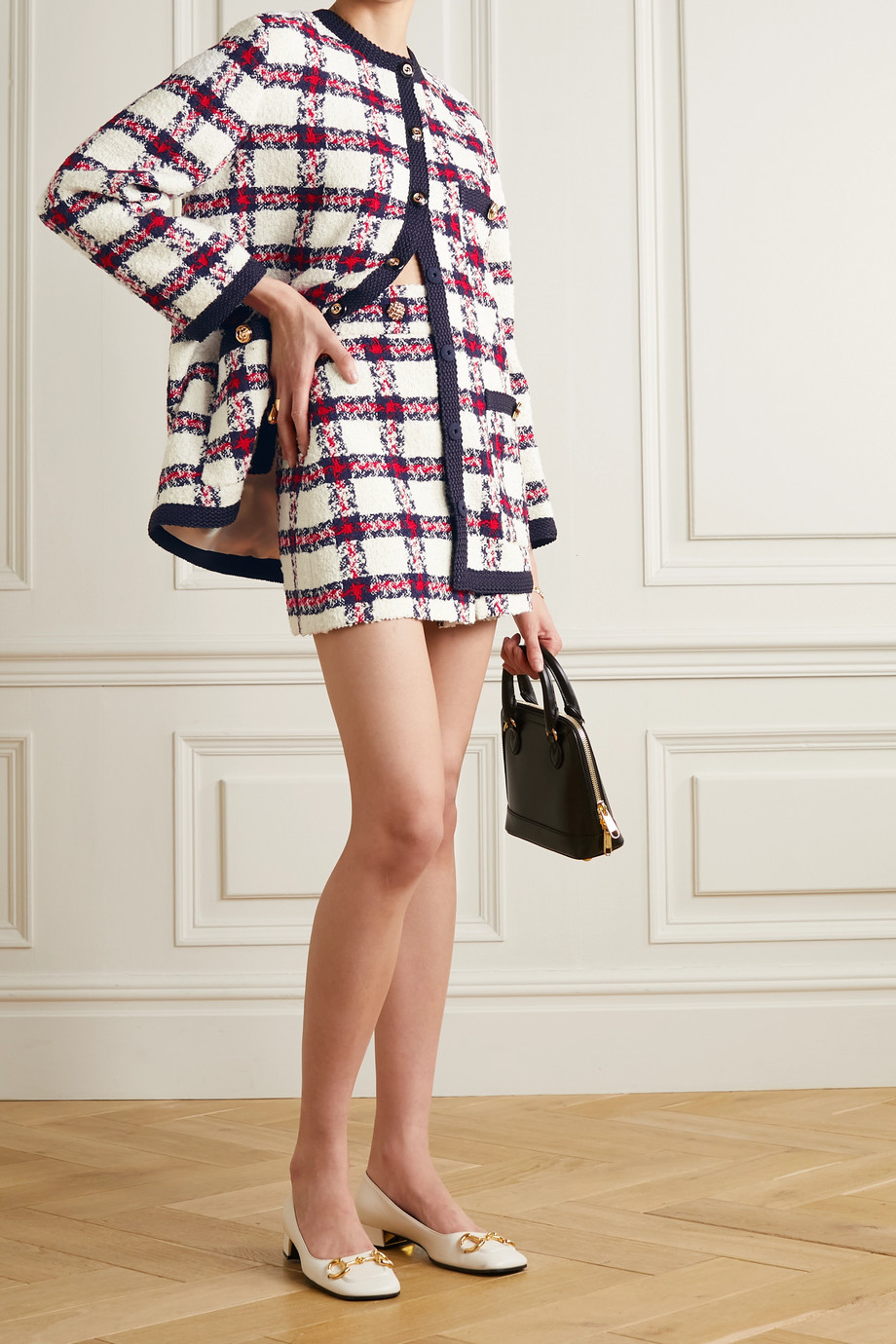 Gucci Button-embellished checked tweed mini skirt