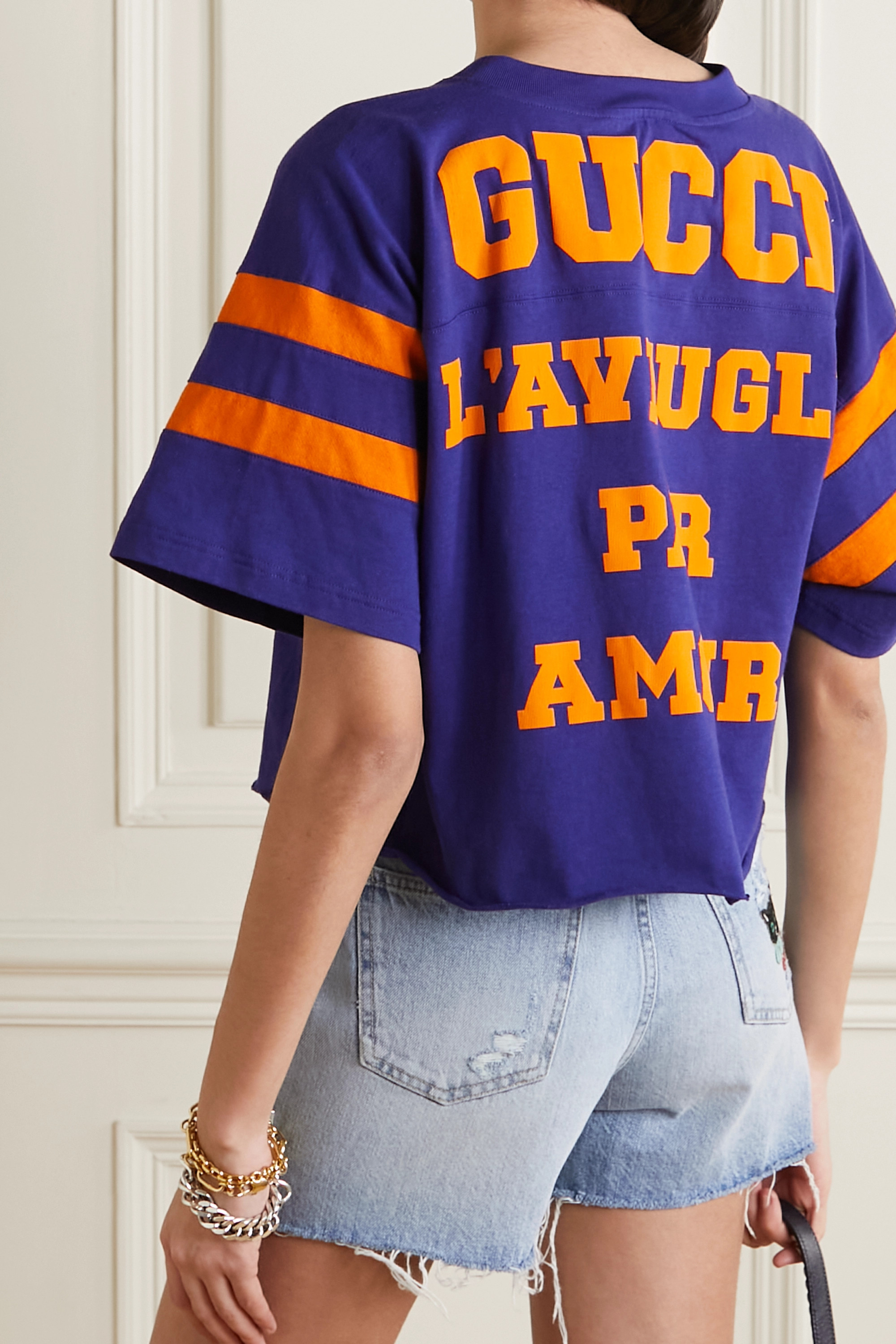 Gucci Cropped printed cotton-jersey T-shirt