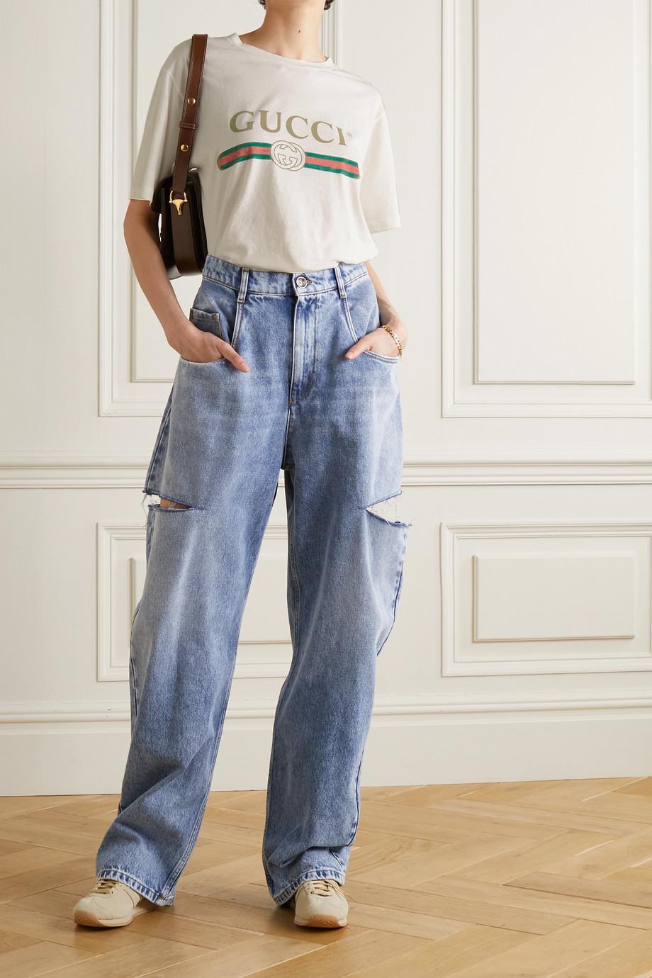 Gucci Oversized-T-Shirt aus Baumwoll-Jersey mit Print und Applikation