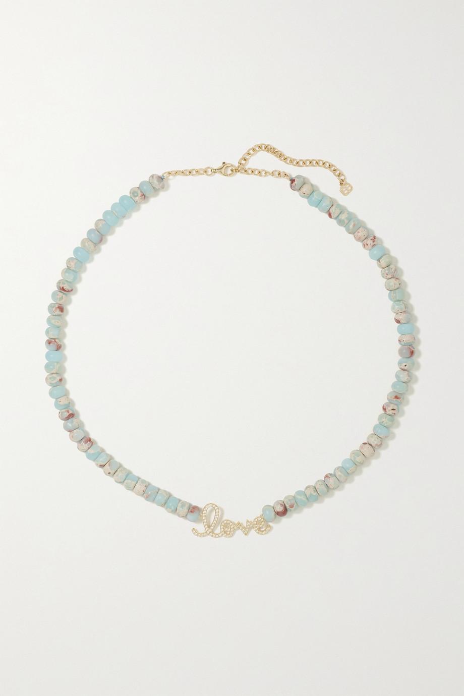 Sydney Evan Large Love 14-karat gold, jasper and diamond necklace
