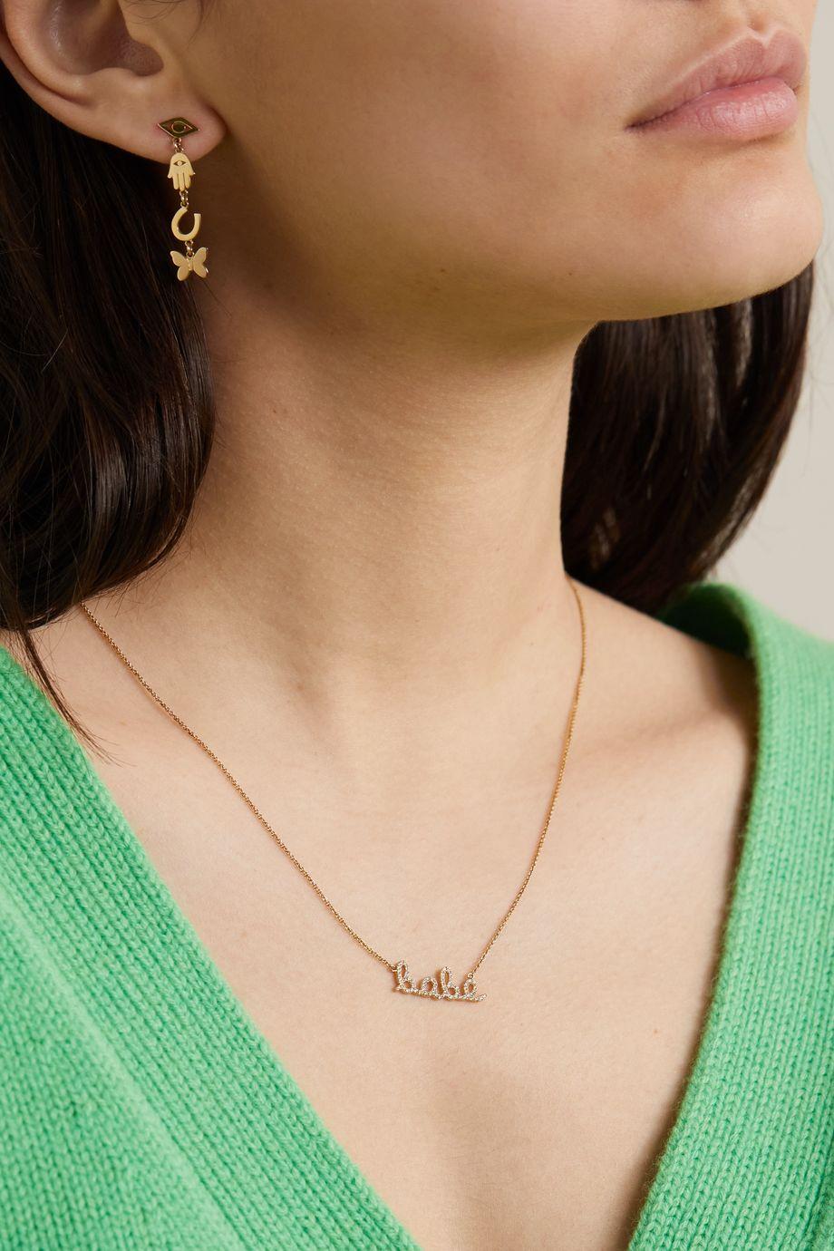 Sydney Evan Collier en or 14 carats et diamants Babe
