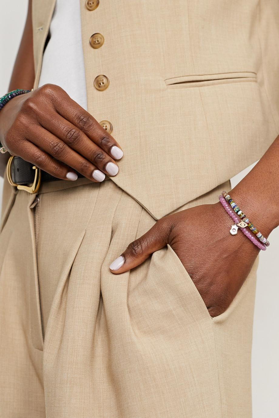 Sydney Evan 14-karat gold, enamel and amethyst bracelet