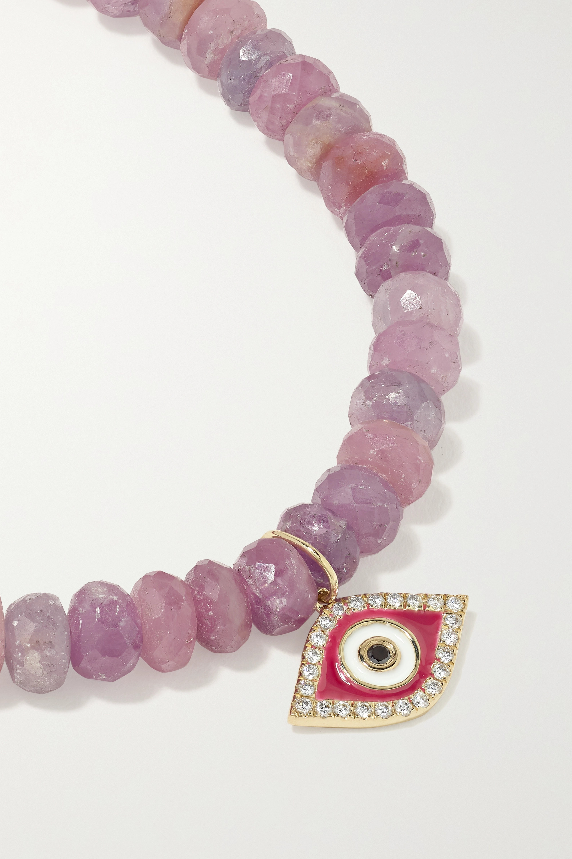 Sydney Evan Evil Eye Armband mit Saphiren, Details aus 14 Karat Gold, Emaille und Diamanten