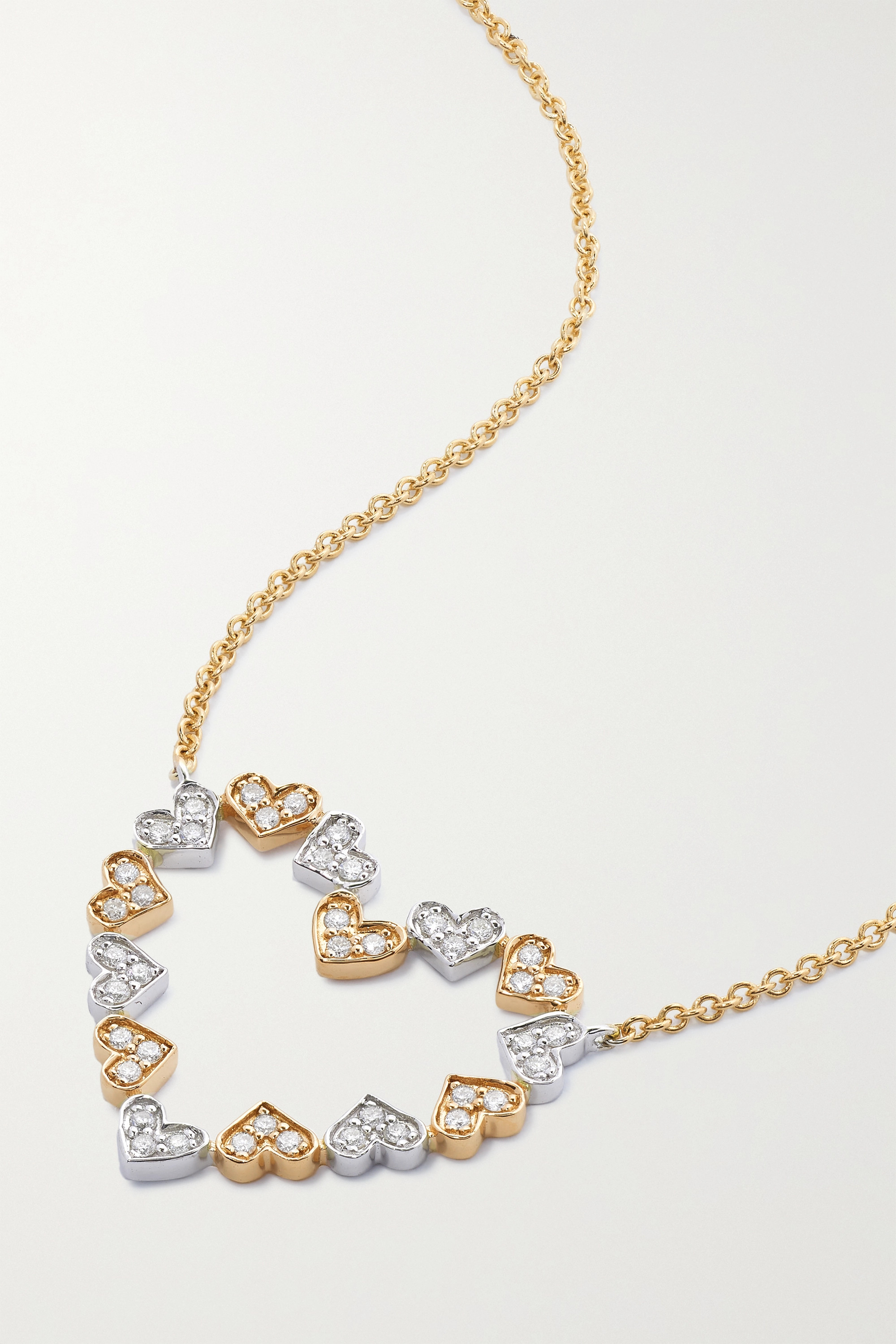 Sydney Evan Tiny Heart 14-karat yellow and white gold diamond necklace