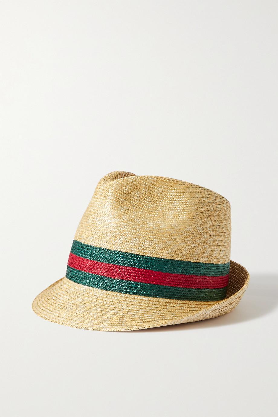 Gucci Fedora aus Stroh mit Streifen