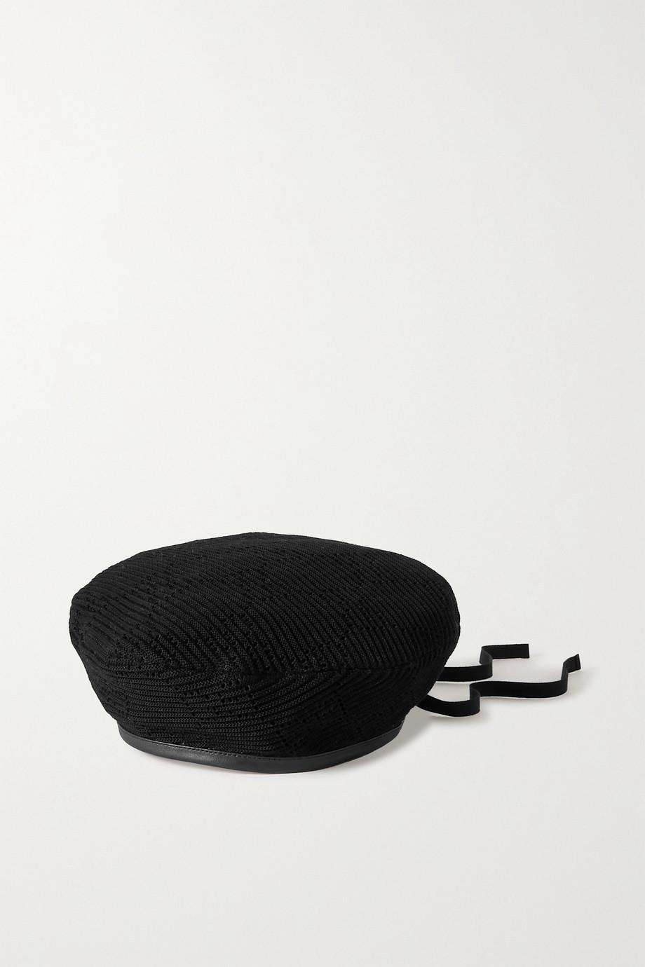 Gucci Béret en coton crocheté à finitions en cuir Malibu