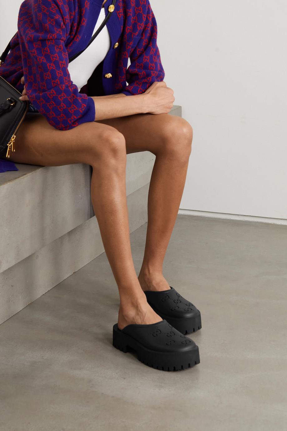 Gucci Elea Mules aus perforiertem Gummi mit Plateau