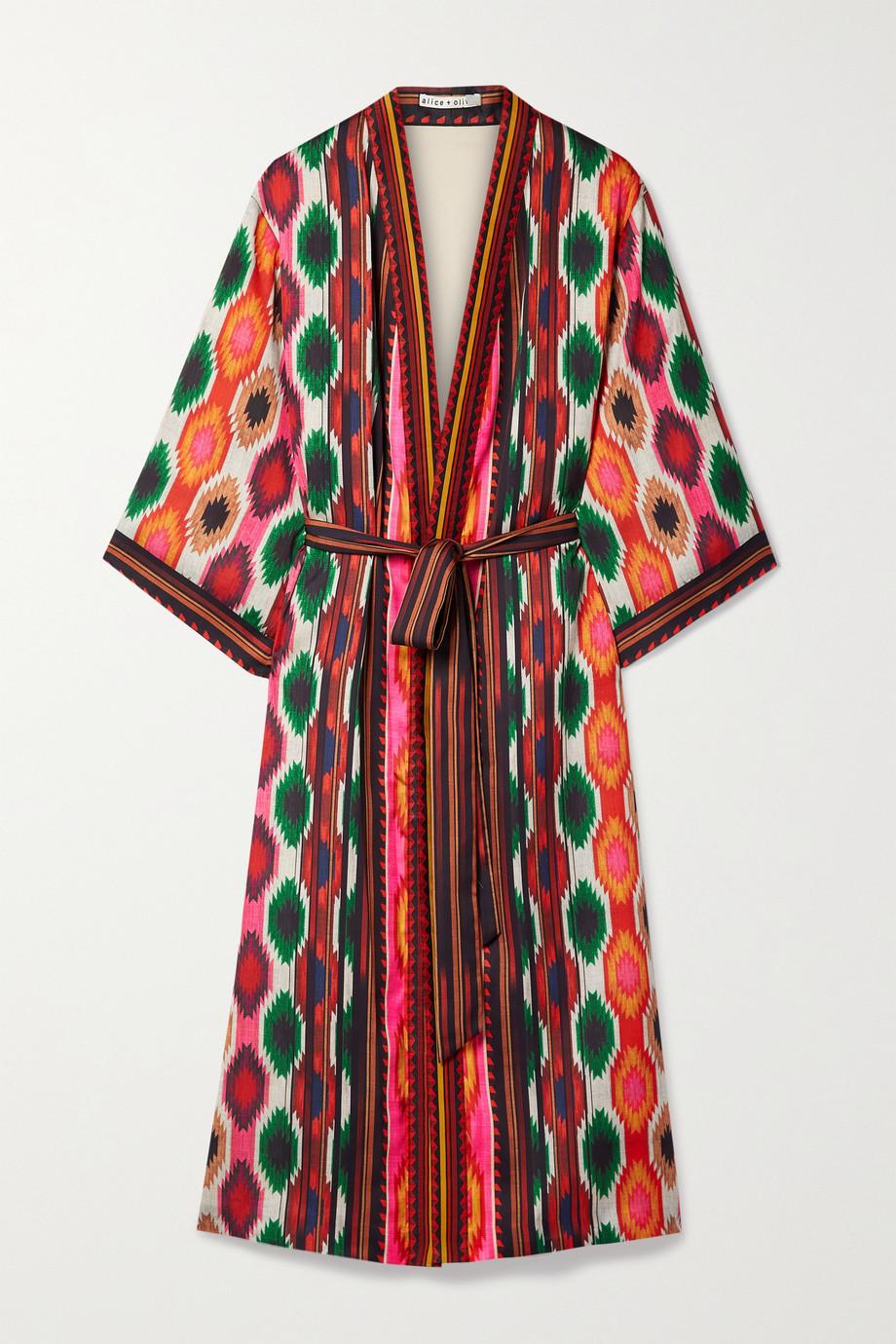 Alice + Olivia Flora belted printed satin kimono