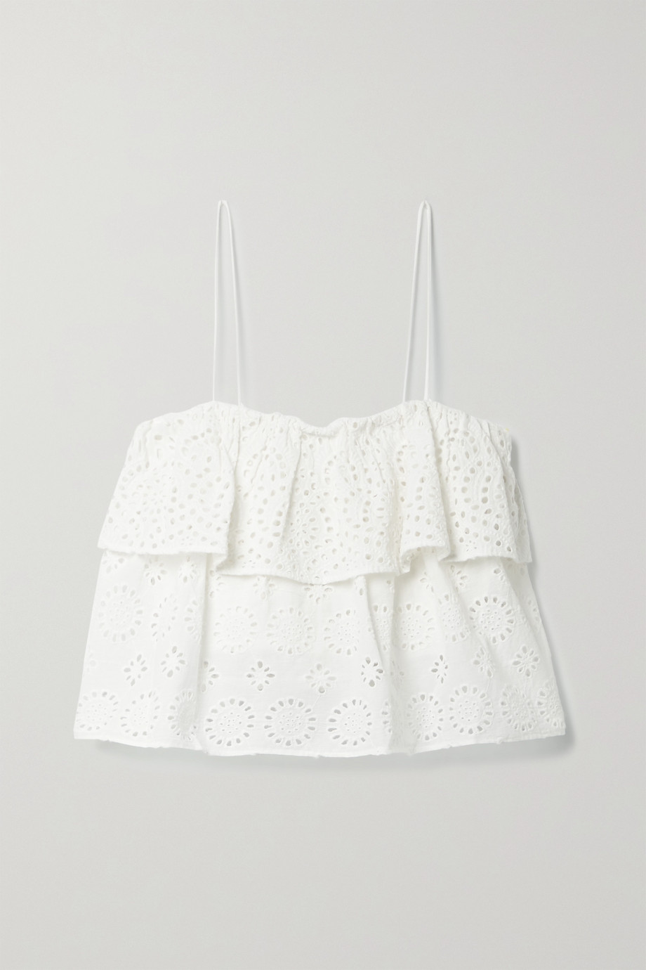Alice + Olivia Marylynn cropped tiered broderie anglaise cotton-voile top