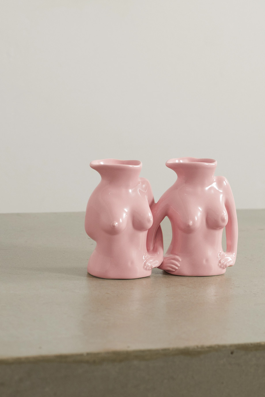 Anissa Kermiche International Women's Day Titty Committee set of two mini earthenware jugs