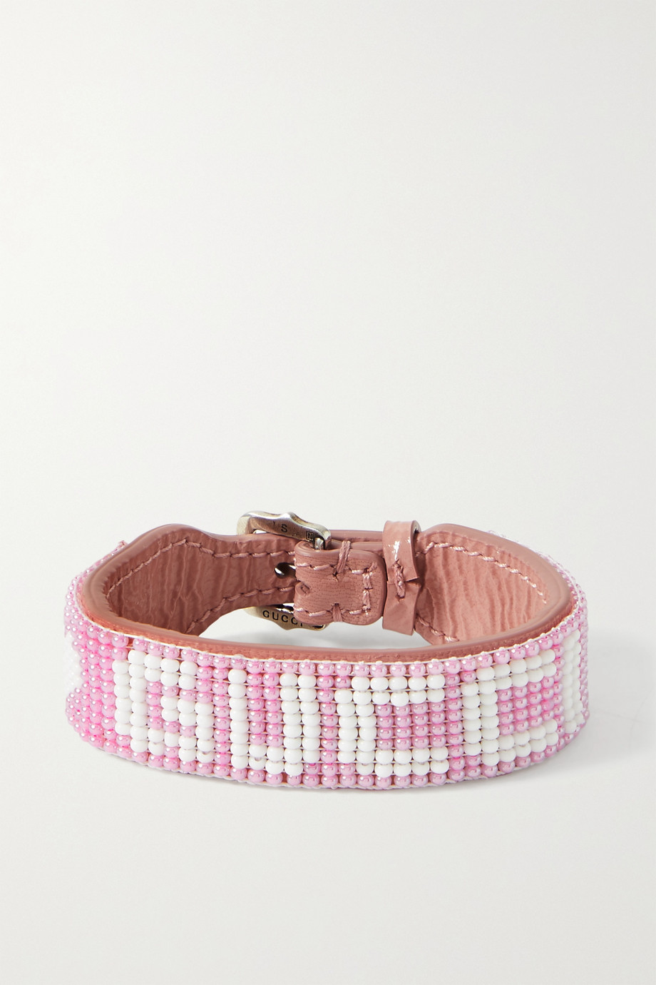 Gucci Beaded textured-leather bracelet
