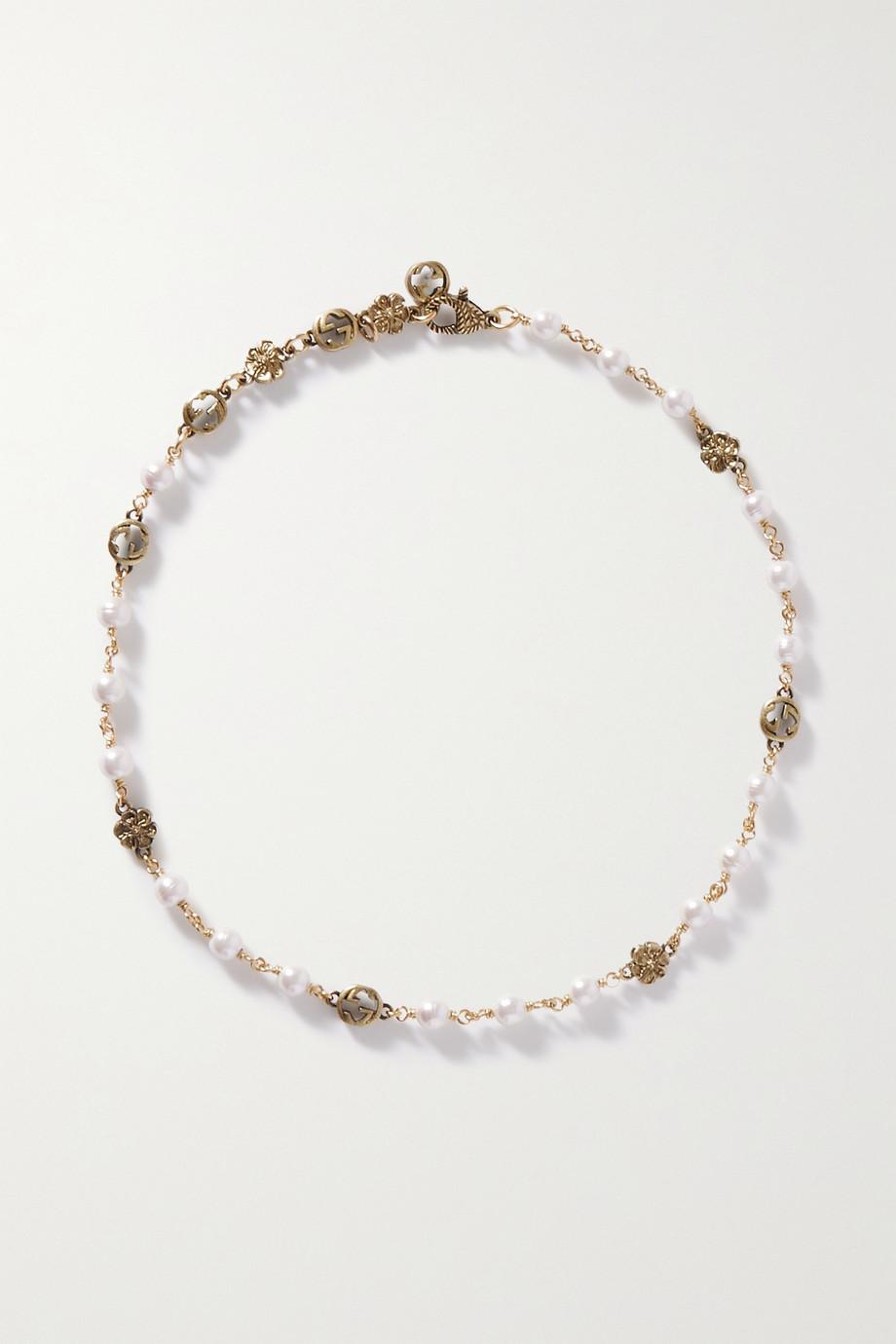 Gucci Collier en métal doré et perles synthétiques