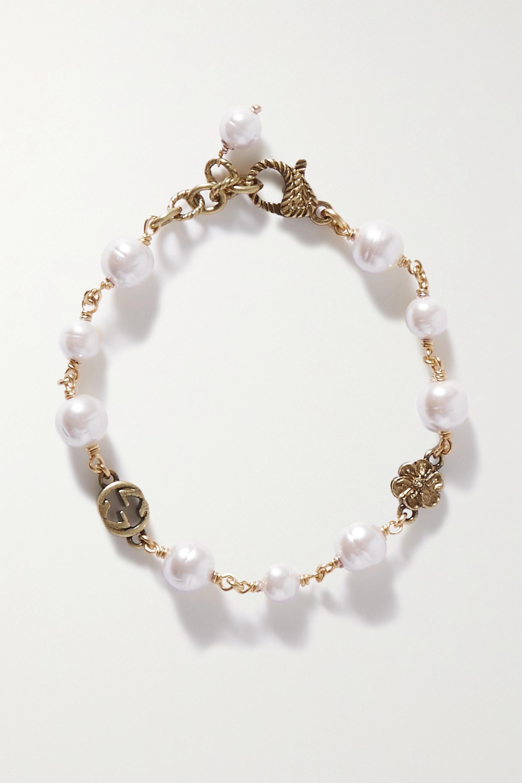 Gucci Bracelet en métal doré et perles synthétiques