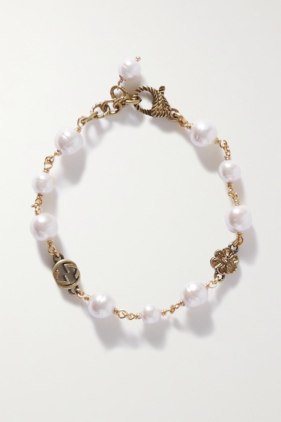 Gucci Goldfarbenes Armband mit Kunstperlen